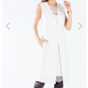 **SALE** White Foster Lace Trim Vest Dress